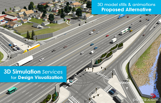 3D Visualization and Animation for the ongoing I-70 East EIS Project in Denver, CO (CDOT) depicting the SDEIS Preliminarily Identified Alternative or Partial Cover Lowered Highway Alternative, including the cover park near Swansea Elementary. Stills and Animations of I-70 and Brighton Boulevard Interchange are shown here.