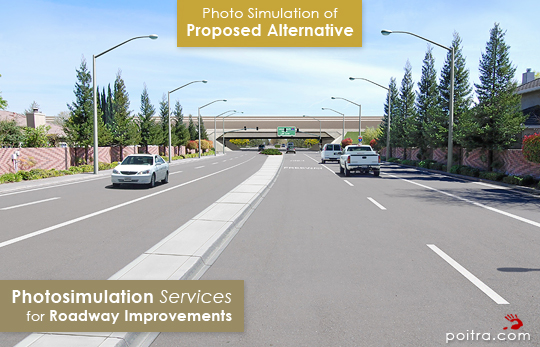 Photo simulation of Proposed Redesign Alternative. Photo-realistic Design Visualization and Photosimulation Services for Roadway Improvements: I-5 and Otto Drive East, CalTrans, Stockton, CA