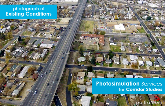 Photograph of Existing Conditions. Photo-realistic Design Visualization and Photosimulation Services for Corridor Studies: I-70 East Corridor, CDOT, Denver, CO
