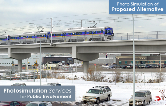 Photo simulation of Proposed Commuter Rail Alternative. Photo-realistic Design Visualization and Photosimulation Services for Public Involvement: North Metro Corridor at Denver Wastewater, RTD FasTracks, Denver, CO