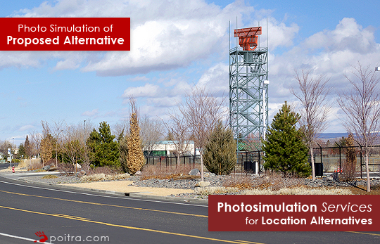 Photo simulation of Proposed Radar Location Alternative. Photo-realistic Design Visualization and Photosimulation Services for Location Alternatives: Reno/Tahoe 7 on Corporate Blvd South, FAA, Reno, NV