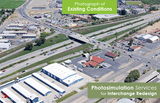 Photograph of Existing Conditions. Photo-realistic Design Visualization and Photosimulation Services for Interchange Redesigns: SR99 and Kiernan Avenue Interchange Redesign Alternatives, CalTrans and Stanislaus County, Salida, CA