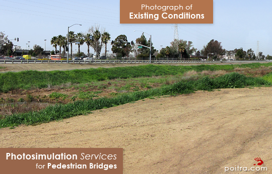 Photograph of Existing Conditions. Photo-realistic Design Visualization and Photosimulation Services for Pedestrian Facilities: Thompson Creek Pedestrian Bridge South, VTA, San Jose, CA