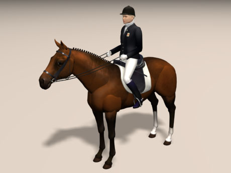 3d Model 20th Century Dressage Competition Show Horse And Woman Rider With Riding Saddle Snaffle