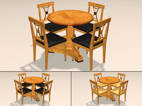 POITRA Visual D Model Catalogue D Model Th Century German - 3 foot round dining table