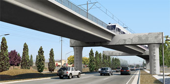 Photosimulations of proposed Capitol Expressway LRT at Swift Avenue (thumbnail image - click for enlargements)